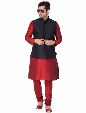 Here Is A Rich And Decent Looking Readymade Pair Of Men's Kurta Pyjama In Red Color Paired With Black Colored Jacket. This Kurta And Pyjama Are Fabricated On Cotton Silk Paired With Art Silk Fabricated Jacket. Buy This Pair For The Upcoming Wedding And Festive Season.