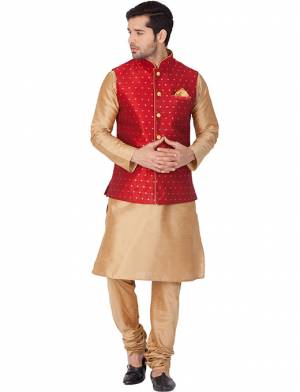 Here Is A Rich And Decent Looking Readymade Pair Of Men's Kurta Pyjama In Beige Color Paired With Red Colored Jacket. This Kurta And Pyjama Are Fabricated On Cotton Silk Paired With Jacquard Silk Fabricated Jacket. Buy This Pair For The Upcoming Wedding And Festive Season.