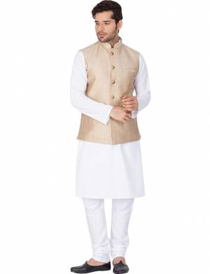 Here Is A Rich And Decent Looking Readymade Pair Of Men's Kurta Pyjama In White Color Paired With Royal Blue Colored Jacket. This Kurta And Pyjama Are Fabricated On Cotton Paired With Art Silk Fabricated Jacket. Buy This Pair For The Upcoming Wedding And Festive Season.