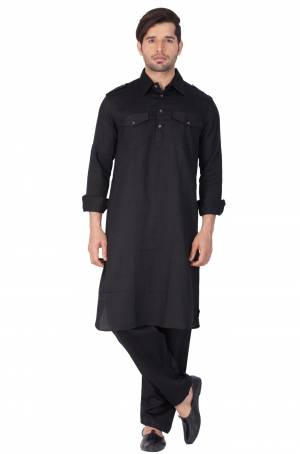 Get Ready For The Upcoming Festive Season With This Readymade Pair Of Pathani Kurta Pyjama For Men's Wear. This Rich Black Colored Pair Is Fabricated On Cotton Which Is Light Weight, Soft Towards Skin And Available In All Sizes. Buy Now.