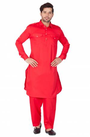 Get Ready For The Upcoming Festive Season With This Readymade Pair Of Pathani Kurta Pyjama For Men's Wear. This Rani Pink Colored Pair Is Fabricated On Cotton Which Is Light Weight, Soft Towards Skin And Available In All Sizes. Buy Now.