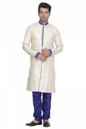 This Festive And Wedding Season Adorn A Proper Traditional Look Wearing?This Designer Readymade Sherwani With Bottom Which Is Cotton Silk Based. Its Fabric Has Rich Feel And Light In Weight, Also It Is Available In All Sizes. Choose As Per Your Desired Fit And Comfort. Buy Now.