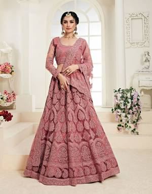 Flaunt Your Rich And Elegant Taste Wearing This Very Pretty Heavy Designer Lehenga Choli In All Over Dusty Pink Color. This Pretty Lehenga Choli Is Fabricated On Net Paired With Net Fabricated Dupatta. It Is Beautified With Heavy Tone To Tone Embroidery Giving It A Pretty Subtle Yet Heavy Look.