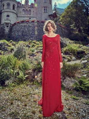 You Will Definitely Earn Lots Of Compliments Wearing This Designer Readymade Gown In Red Color Paired With A Pretty Red Colored Dupatta. Its Pretty Top Is Fabricated On Crepe Paired With Chiffon Fabricated Dupatta.