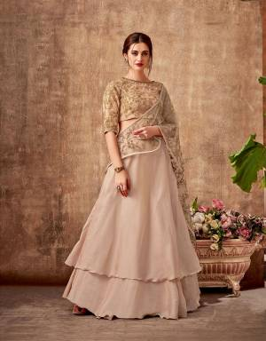An amalgamation of very light, subtle and dreamy composition, this lehenga saree is for every woman who likes to take a dive into the world of fashion. The two-layered lehenga gives you the maximum flare for those beautiful twirls.