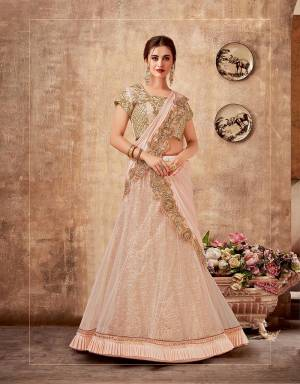 Swirl and twirl in magical motion in this glitzy and glittery lehenga saree in the softest shade of Light Peach that will make your soiree enchantingly beautiful