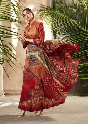 Celebrate This Festive Season With Beauty And Comfort Wearing This Designer Readymade Gown In Red And Orange Color Fabricated On Soft Silk. This Pretty Gown Is Beautified With Digital Prints All Over. Buy Now.