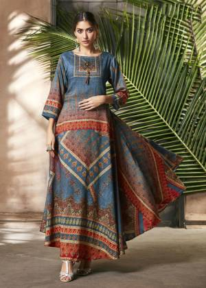 Celebrate This Festive Season With Beauty And Comfort Wearing This Designer Readymade Gown In Blue And Multi Color Fabricated On Soft Silk. This Pretty Gown Is Beautified With Digital Prints All Over. Buy Now.