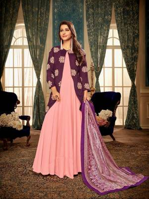 Look Pretty In This Designer Readymade Gown With Jacket In Pink And Wine Color Paired With Pink Colored Dupatta. This Gown, Jacket And Dupatta Ae Muslin Based Which Is Light Weight And Easy To Carry all Day Long.