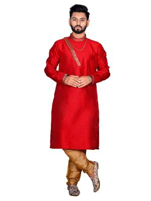 Grab This Amazing Pair Of Kurta And Chudidar For Men Fabricated On Art Silk. This Kurta Is Suitable For Festive Wear Or Any Wedding Functions. It Is Light In Weight and Can Be Paired With Any Kind Of Bottom Like Chudidar, Pyjama Or Even Denims. Its Fabric Is Soft Towards Skin And Avialable In All Sizes. Buy Now.