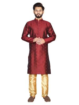 Grab This Amazing Pair Of Kurta And Chudidar For Men Fabricated On Jacquard Silk And Cotton Respectively. This Kurta Is Suitable For Festive Wear Or Any Wedding Functions. It Is Light In Weight and Can Be Paired With Any Kind Of Bottom Like Chudidar, Pyjama Or Even Denims. Its Fabric Is Soft Towards Skin And Avialable In All Sizes. Buy Now.