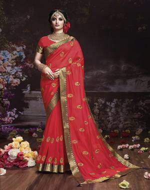 Get Ready For The Upcoming Wedding And Festive Season With This Designer Saree In Dark Pink Color. This Attractive Jari Embroidered Saree Is Fabricated On Vichitra Silk Paired With Vichitra Silk Fabricated Blouse. It Is Beautified With Broad Lace Border With Stone Work. Buy Now.