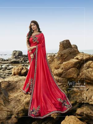 Look Attractive In This Very Pretty Dark Pink Colored Designer Saree Paired With Dark Pink Colored Blouse. This Heavy Embroidred Saree Is Soft Silk Based. It Is Light Weight, Durable And Care For.