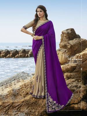 Look Attractive In This Very Pretty Purple & Beige Colored Designer Saree Paired With Beige Colored Blouse. This Heavy Embroidred Saree Is Soft Silk Based. It Is Light Weight, Durable And Care For.
