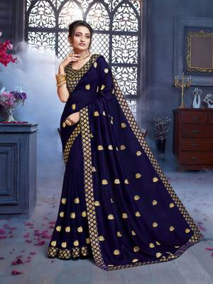 Grab This Pretty Attractive Saree In Navy Blue Color. This Saree Is Fabricated On Art Silk Paired With Brocade Fabricated Blouse. Its Rich Fabric And Color Will Earn You Lots Of Compliments From Onlookers.