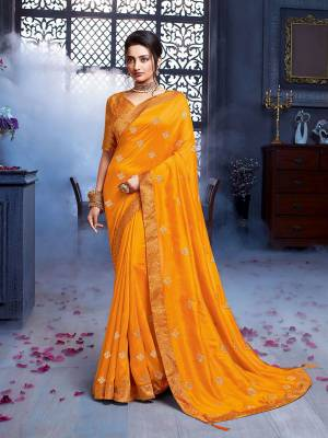 Grab This Pretty Attractive Saree In Musturd Yellow Color. This Saree Is Fabricated On Art Silk Paired With Brocade Fabricated Blouse. Its Rich Fabric And Color Will Earn You Lots Of Compliments From Onlookers.