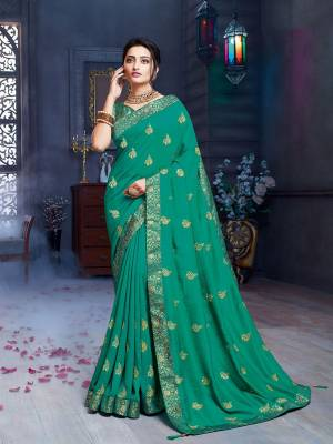 Grab This Pretty Attractive Saree In Sea Green Color. This Saree Is Fabricated On Art Silk Paired With Brocade Fabricated Blouse. Its Rich Fabric And Color Will Earn You Lots Of Compliments From Onlookers.