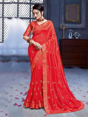 Grab This Pretty Attractive Saree In Crimson Red Color. This Saree Is Fabricated On Art Silk Paired With Brocade Fabricated Blouse. Its Rich Fabric And Color Will Earn You Lots Of Compliments From Onlookers.