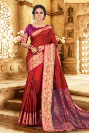 Flaunt Your Rich And Elagant Taste Wearing This Pretty Attractive Saree In Red Color Paired With Contrasting Magenta Pink Colored Blouse. This Saree And Blouse Are Fabricated On Khadi Silk Which Also Gives A Rich Look To Your Personality. Buy Now.