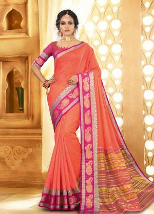 Flaunt Your Rich And Elagant Taste Wearing This Pretty Attractive Saree In Dark Peach Color Paired With Contrasting Rani Pink Colored Blouse. This Saree And Blouse Are Fabricated On Khadi Silk Which Also Gives A Rich Look To Your Personality. Buy Now.