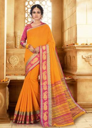 Flaunt Your Rich And Elagant Taste Wearing This Pretty Attractive Saree In Musturd Yellow Color Paired With Contrasting Rani Pink Colored Blouse. This Saree And Blouse Are Fabricated On Khadi Silk Which Also Gives A Rich Look To Your Personality. Buy Now.
