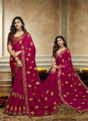 Grab This Pretty Attractive Saree In Magenta Pink Color. This Saree Is Fabricated On Soft Art Silk Paired With Brocade Fabricated Blouse. It Has Attractive Jari Embroidered Motifs Highlited With Stone Work. Its Rich Fabric And Color Will Earn You Lots Of Compliments From Onlookers.