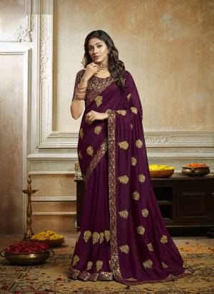 Grab This Pretty Attractive Saree In Purple Color. This Saree Is Fabricated On Soft Art Silk Paired With Brocade Fabricated Blouse. It Has Attractive Jari Embroidered Motifs Highlited With Stone Work. Its Rich Fabric And Color Will Earn You Lots Of Compliments From Onlookers.