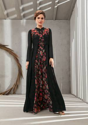 Grab This Beautiful Designer Readymade Gown In Two Layer Consist Of A Printed Inner And Plain Jacket In Black Color. Its Embroidered Jacket Is Fabricated On Poly Organdy Paired With Digital Printed Rayon Cotton Inner. Buy This Readymade Gown Now.