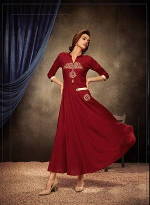 Add This Pretty Readymade Designer Gown To Your Wardrobe In Red Color. This Pretty Gown Is Fabricated On Rayon Beautified With Thread Embroidery. Its Fabric Is Soft Towards Skin, Light Weight And Easy To Carry All Day Long.