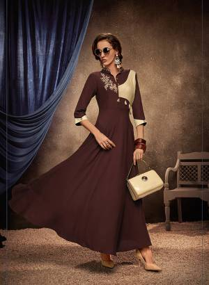 Flaunt Your Rich And Elegant Taste Wearing This Designer Readymade Long Gown In Broen Color. This  Pretty Gown Is Fabricated On Rayon Beautified With Thread Work. Its Fabric Is Soft Towards Skin And Easy To Carry All Day Long.