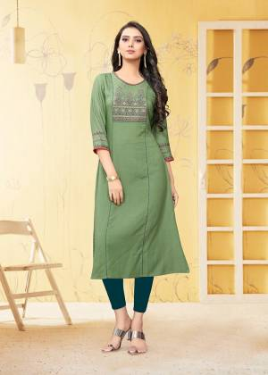 Grab This Readymade Kurti In Light Green Color Fabricated On Rayon Flex. It Is Light In Weight And Easy To Carry All Day Long.