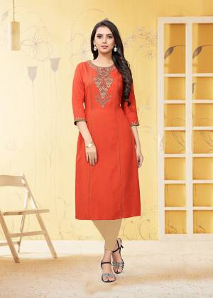 Here Is A Very Pretty Readymade Kurti In Orange Color Fabricated On Rayon Flex. It Is Beautified With Thread Work And Available In All Regular Sizes.