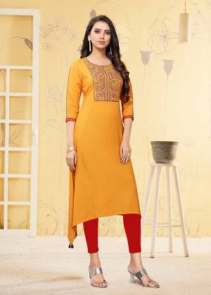 Grab This Readymade Kurti In Yellow Color Fabricated On Rayon Flex. It Is Light In Weight And Easy To Carry All Day Long.