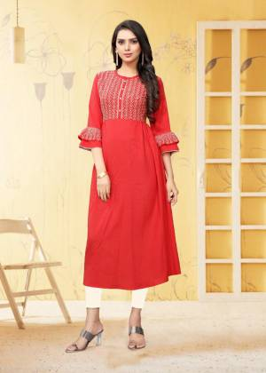 For Your Semi-Casual Wear, Grab This Readymade Kurti In Red Color Fabricated On Rayon Flex. It Is Beautified With DetailedThread Work. You Can Pair This Up With Same Or Contrasting Colored Bottom. Buy Now.