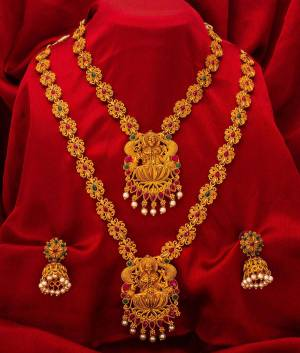 For A Queen Look, Here Is A Designer Royal Looking Necklace Set With Two Necklaces With A Pair Of Earrings. This Necklace Set Can Be Paired With Heavy Or Light Ethnic Attire Alos Can Be Wore Single Or Both At A Time For More Enhanced Look. Buy Now