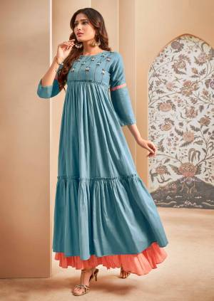 Grab This Lovely And Super Comfoy Designer Readymade Long Kurti In Blue Color Fabricated On Mal Cotton. This Pretty Kurti Is Beautified With Thread Embroidery Giving An Elegant Look.