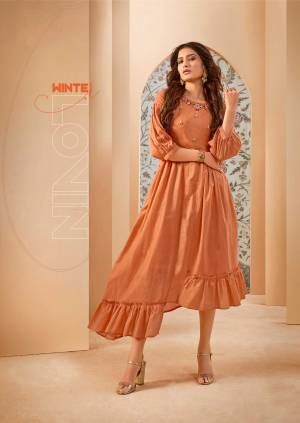 Celebrate This Festive Season With Beauty And Comfor Wearing This Pretty Readymade Long Kurti In Orange Color. This Kurti Is Fabricated On Mal Cotton Beautified With Thread Work.