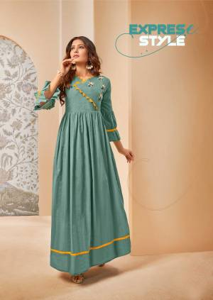 Grab This Lovely And Super Comfoy Designer Readymade Long Kurti In Sea Green Color Fabricated On Mal Cotton. This Pretty Kurti Is Beautified With Thread Embroidery Giving An Elegant Look.