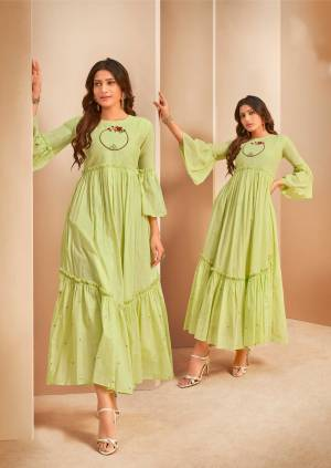 Celebrate This Festive Season With Beauty And Comfor Wearing This Pretty Readymade Long Kurti In Light Green Color. This Kurti Is Fabricated On Mal Cotton Beautified With Thread Work.
