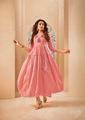 Grab This Lovely And Super Comfoy Designer Readymade Long Kurti In Pink Color Fabricated On Mal Cotton. This Pretty Kurti Is Beautified With Thread Embroidery Giving An Elegant Look.