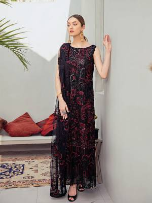 Grab This Attractive Looking Heavy Designer Straight Suit In Black Color. Its Embroidered Top And Dupatta Are Georgette Based Paired With Santoon Bottom. Buy This Pretty Suit Now.