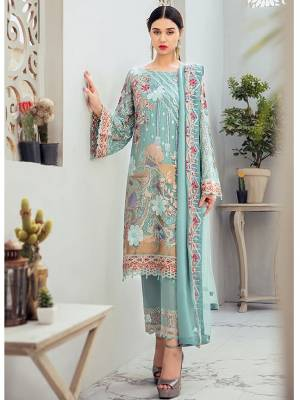 Grab This Attractive Looking Heavy Designer Straight Suit In Sky Blue Color. Its Embroidered Top And Dupatta Are Georgette Based Paired With Santoon Bottom. Buy This Pretty Suit Now.