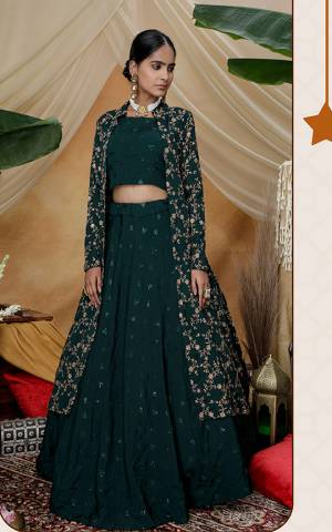 Enhance Your Personaity Wearing This Designer Indo Western Lehenga Choli With Jacket In Pine Green Color. Its Blouse, Lehenga And Jacket Are Fabricated On Chinon Beautified With Attractive Detailed Embroidery Work.