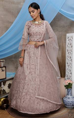 Look Pretty In This Beautiful Heavy Designer Lehenga Choli Is Pale Grey Color. This Attractive Embroidered Lehenga Choli Is Fabricated On Net Paired With Net Fabricated Dupatta. It Is Light In Weight And Easy To Carry All Day Long.