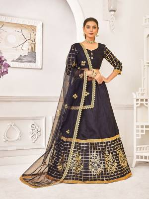 Enhance You Personality Wearin This Designer Lehenga Choli In All Over Navy Blue Color. Its Blouse And Lehenga Are Fabricated On Satin Silk Paired With Net Fabricated Dupatta. Its Fabrics Are Durable, Light Weight And Easy To Care For.