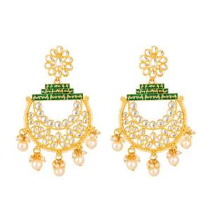Grab This Lovely Pair Of Earrings Beautified With Stone And Pearl Work, To Pair With Your Traditional Wear And Mainly Lehenga. This Pretty Pair Can Be Paired With Same Or Contrasting Colored Ethnic Attire. Buy Now