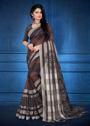 For Your Semi-Casual Wear, Grab This Printed Saree Brown Color. This printed Saree And Blouse Are Fabricated On Handloom Silk Which Is Gives Rich Look To Your Personality. Also It Is Durable And Easy To Care For.