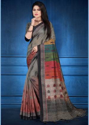 For Your Semi-Casual Wear, Grab This Printed Saree Grey And Multi Color. This printed Saree And Blouse Are Fabricated On Handloom Silk Which Is Gives Rich Look To Your Personality. Also It Is Durable And Easy To Care For.