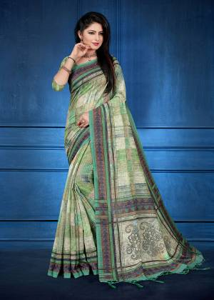 For Your Semi-Casual Wear, Grab This Printed Saree Light Green Color. This printed Saree And Blouse Are Fabricated On Handloom Silk Which Is Gives Rich Look To Your Personality. Also It Is Durable And Easy To Care For.