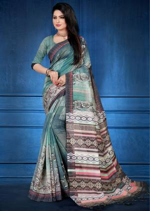 For Your Semi-Casual Wear, Grab This Printed Saree Teal Blue Color. This printed Saree And Blouse Are Fabricated On Handloom Silk Which Is Gives Rich Look To Your Personality. Also It Is Durable And Easy To Care For.